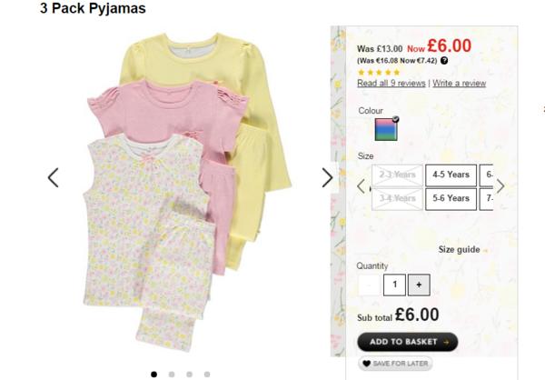 3 пижамы за 6 фунтов http://direct.asda.com/george /kids/nightwear-slippers/3-pack-pyjamas/GEM444261,default,pd.html