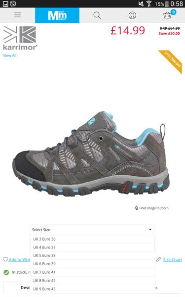Karrimor Mens Supa  Low Hiking Shoes Black Grey