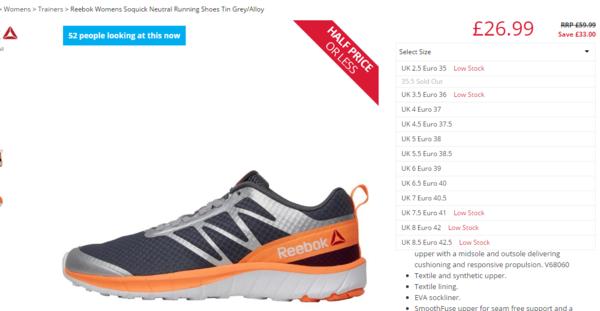 Reebok Womens Soquick Neutral Running Shoes